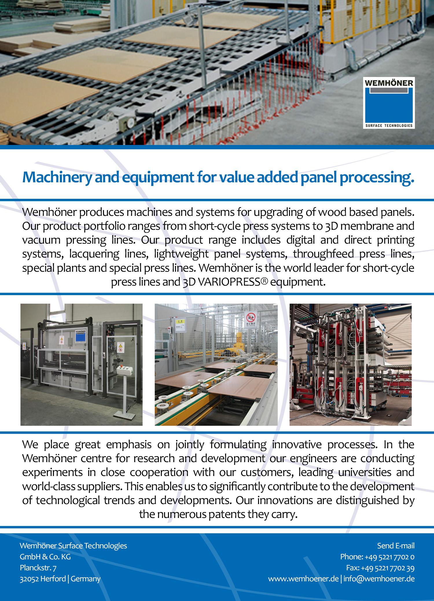 Wemhöner Surfaceпроизводитель оборудования и станций систем